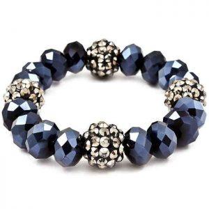 Simulated-Hematite-Fireball-Rhinestones-Navy-Blue-Multifaceted-Glass-Bracelet-172308809903
