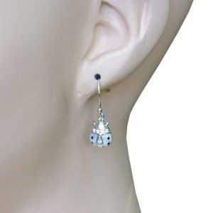 Small-925-Sterling-Silver-White-Lady-Bug-Earrings-With-Clear-Crystals-172784394093
