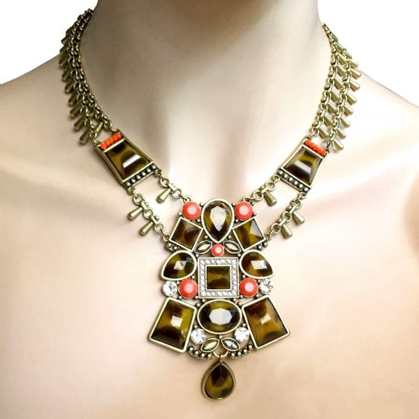 Tortoise & Fake Coral, Clear Crystals Ethnic Statement Necklace By Silpada