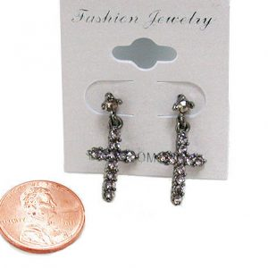 Very-Small-Cross-Earrings-Gray-Crystals-For-Pierced-Ears-Post-Pin-Goth-Punk-172263333843