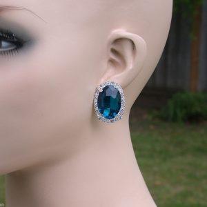 118-Drop-Post-Earrings-Teal-Blue-Multifaceted-Acrylic-Pierced-Ears-Pageant-171993101304