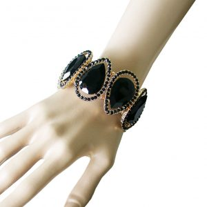 15-W-Black-GlassCrystals-Statement-Bangle-BraceletPageantBridalDrag-Queen-361740367304