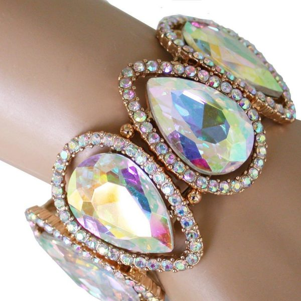 "1.75"" W Aurora Borealis Glass,Crystals Statement Bangle Bracelet,Pageant, Bridal"