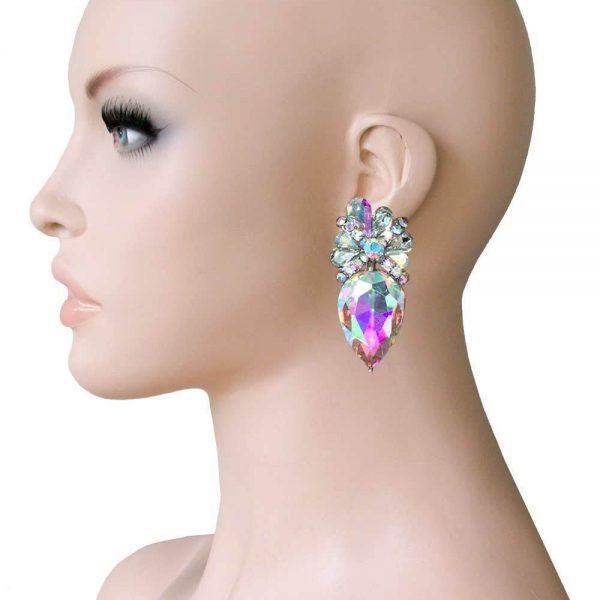 "2"" Drop Aurora Borealis Crystals Clip On earrings, Pageant, Drag Queen,Bridal"