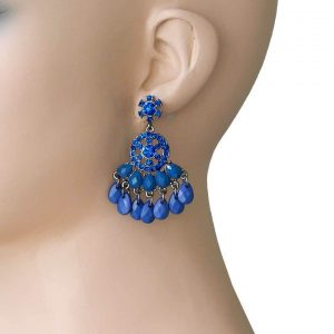 2-Long-Chandelier-Earrings-Royal-Blue-Rhinestones-Navy-Lucite-Beads-361909507824