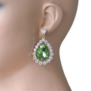 2-Long-Light-Green-Glass-Clear-Crystal-Teardrop-Earrings-Pageant-Drag-Queen-361900184444