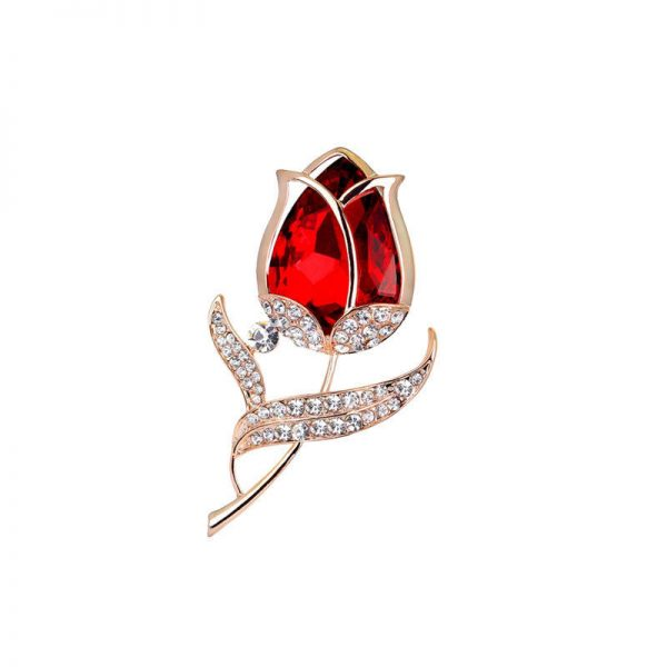 """2"""" Tall Rosebud Pin, Red Glass & Clear Rhinestones, Gold Tone,  Safety Catch"""