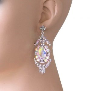 25-Long-Aurora-Borealis-Crystals-Evening-Earrings-Pierced-Pageant-Bridal-172572949754