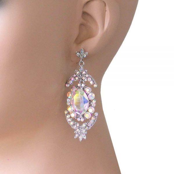 "2.5"" Long Aurora Borealis Crystals Evening Earrings, Pierced, Pageant, Bridal"