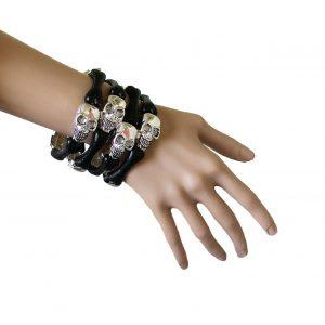 25-Wide-Heavy-SIlver-Tone-Skulls-Black-Bones-Stretch-Multistrand-Bracelet-172349944194