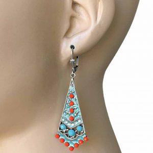 275-Long-Classic-Blue-Coral-Bohemian-Style-Anne-Koplik-Earrings-Made-In-USA-172759716664