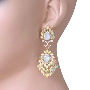 275-Long-Evening-Earrings-Iridescent-Yellow-Simulated-OpalBridalPageant-172455626244