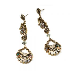 3-H-Antique-Gold-tone-AB-Crystal-Seahorse-EarringsSweet-Romance-Made-in-Usa-361986243424