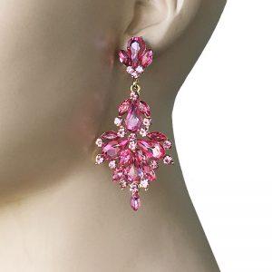 3-Long-Designer-Inspired-Earrings-Rose-Pink-Rhinestones-Pageant-Drag-Queen-362012115934