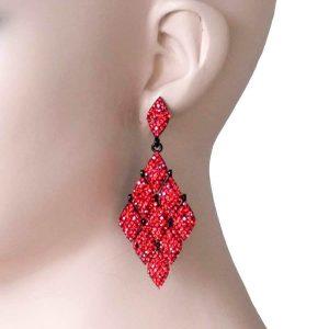 3-Long-Kite-Shaped-Evening-Earrings-Vivid-Red-Rhinestones-PageantDrag-Queen-172492600004