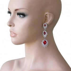 325-Long-Vintage-Inspired-Earrings-Red-Lucite-Rhinestones-Bridal-Pageant-172278557784