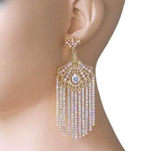 35-Long-Evening-Earrings-AB-Rhinestones-Fringe-PageantBridalDrag-Queen-361821897984