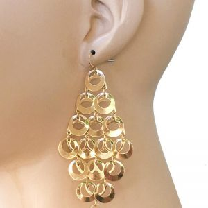 375-Drop-Cascade-Earrings-Gold-Tone-01oz-LIGHTWEIGHT-Hip-Hop-Pageant-172811691774