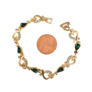 38-Wide-Dainty-Hearts-Green-Acrylic-Rhinestones-Bracelet-65-Long-172657386994