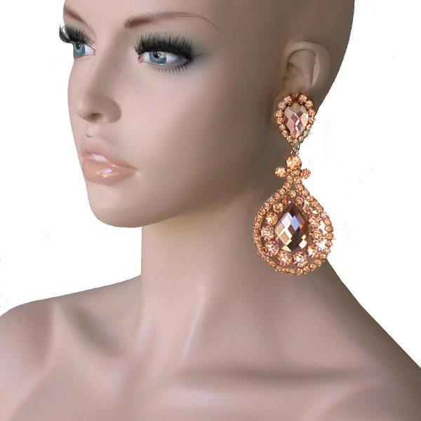 "4"" Long, Peach Rhinestones, Clip On earrings, Pageant, Drag Queen, Bridal"