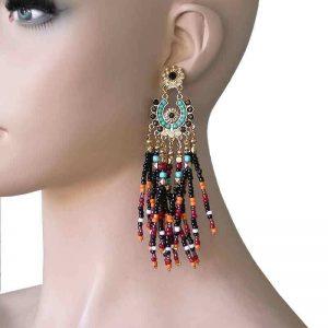 45-BOHO-Style-Casual-Chic-Multicolor-Beads-Earrings-In-Gold-Tone-Pierced-Ears-172358792784