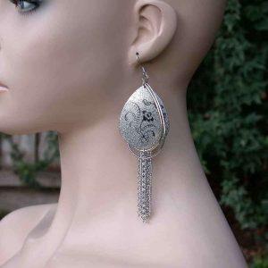 5-Long-Textured-Metal-Tassel-Earrings-Silver-Tone-Pierced-ears-Drag-Queen-361550640884