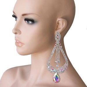 55-Long-Statement-Earrings-Aurora-Borealis-Rhinestones-Drag-QueenPageant-172300652614
