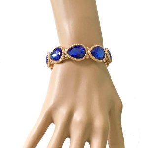 58-Wide-Gold-Tone-Royal-Blue-Glass-Stretch-Bracelet-Drag-Queen-Pageant-172600499764