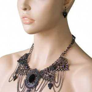 Black-Goth-Metal-Filigree-Necklace-Earrings-Set-Victorian-Inspired-Rockabilly-361812502024