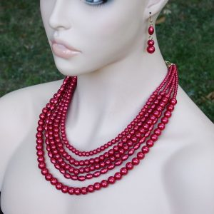 Burgundy-Red-Pearled-Lucite-Beads-Multistrand-Multilayered-Necklace-Earrings-361551511464
