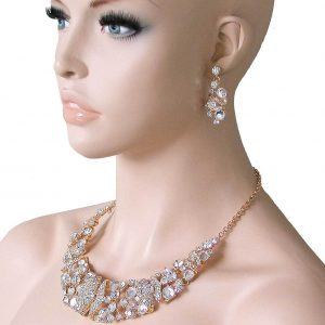Classic-Clear-Evening-Necklace-SetGlass-Crystals-Drag-Queen-Pageant-Bridal-361850861284