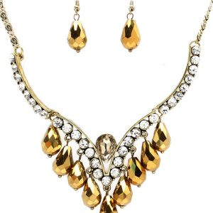 Clear-Crystals-Golden-Teardrop-Glass-Beads-Dainty-Necklace-Earrings-Pageant-172644632864
