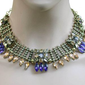 Cleopatra-Style-Necklace-Royal-Blue-Light-Brown-Rhinestone-Drag-Queen-Pageant-361854028914