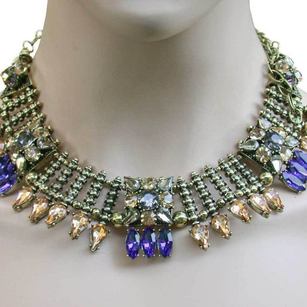 Cleopatra Style Necklace, Royal Blue, Light Brown Rhinestone Drag Queen, Pageant