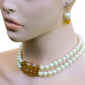 Cream-Faux-Pearls-Light-Brown-Austrian-Crystals-Choker-Necklace-Earrings-172818711204