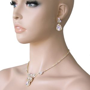 Dainty-Necklace-Earrings-Set-Clear-Rhinestones-Gold-Tone-Bridal-Pageant-172341290404