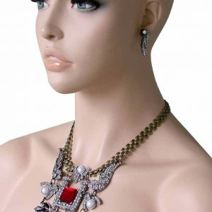 Deco-Style-Wings-Clear-Crystals-Red-Lucite-Statement-Bib-Necklace-Earrings-Set-172479272554