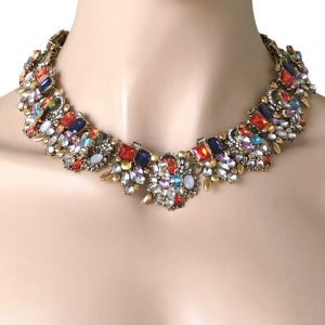 Designer-Inspired-Cleopatra-Necklace-Multicolor-Rhinestones-Drag-Queen-Pageant-172672305644