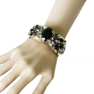 Designer-Look-Gold-Tone-Black-Gray-Lucite-Cuff-Bracelet-Drag-Queen-Pageant-172823326634