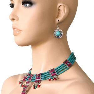 Ethnic-Necklace-Earring-Set-Turquoise-Blue-Formica-Fuchsia-Pink-Rhinestones-362005595204
