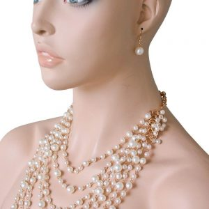 Faux-Pearls-Multilayered-Statement-Necklace-Earrings-Set-Pageant-Bridal-172380772544