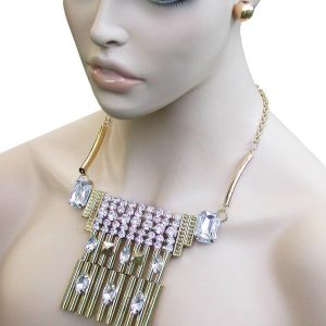 Geometric-Gold-Tone-Ethnic-BOHO-Inpired-Bib-Necklace-Earrings-Crystal-Pageant-172502308574