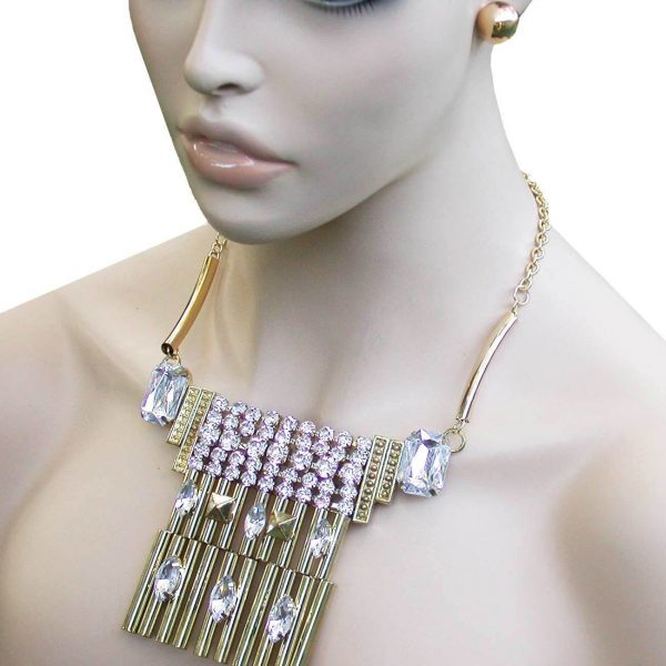 Geometric Gold Tone Ethnic BOHO Inpired Bib Necklace Earrings Crystal, Pageant
