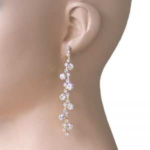 Gold-Tone-Clear-Crystals-325-Long-Linear-Earrings-Pageant-Drag-QueenBride-172655928054