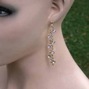 Gold-Tone-Clear-Crystals-325-Long-Linear-Earrings-Pageant-Drag-QueenBride-361146131814