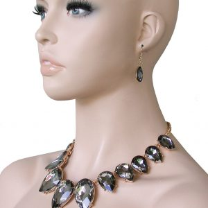 Gray-Smoke-Black-Glass-Statement-Necklace-Earrings-Bridal-Pageant-Drag-Queen-172429315644
