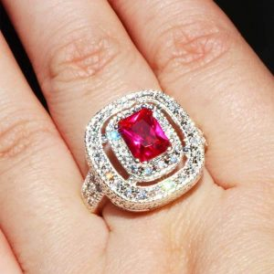 Lab-Created-Fuchsia-Ruby-Clear-CZ-Silver-Plated-Zinc-Alloy-Ring-Size-6-7-172640748104