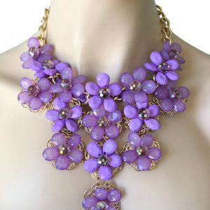 Lavender-Acrylic-Lucite-Bead-Flowers-Bib-Statement-Necklace-Pageant-Drag-Queen-362050142184
