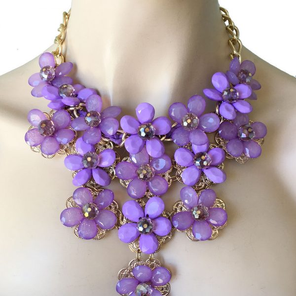 Lavender Acrylic Lucite Bead Flowers Bib Statement Necklace, Pageant, Drag Queen