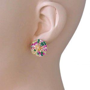 Round-Gold-Tone-Multicolor-Rhinestones-Post-Earrings-Pierced-Ears-361779562234
